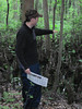 Participant looking for characteristics of wetlands.