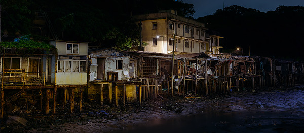Abandoned homes of Ma Wan (Park Island) in Hong Kong.