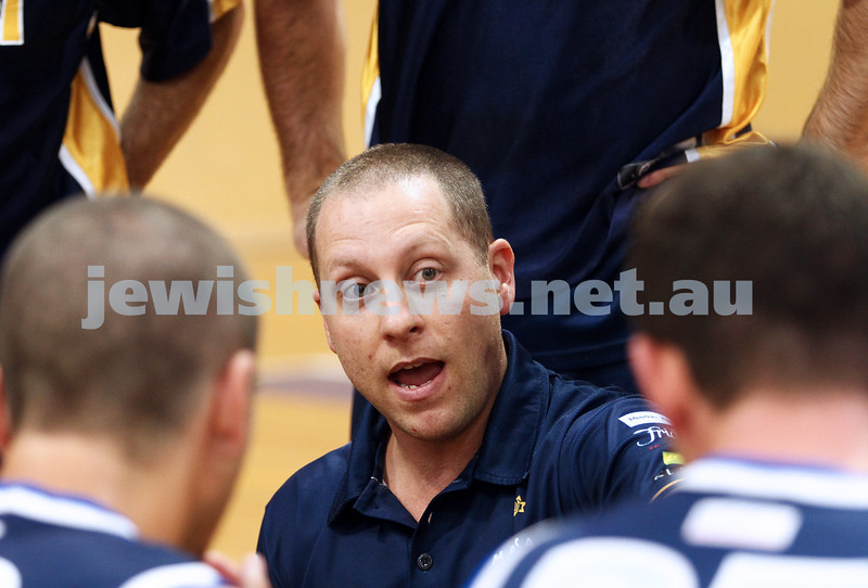 28-4-13. Basketball. Maccabi Warriors v Coburg at Bialik College.  Coach Drew Solewicz. Photo: Peter Haskin