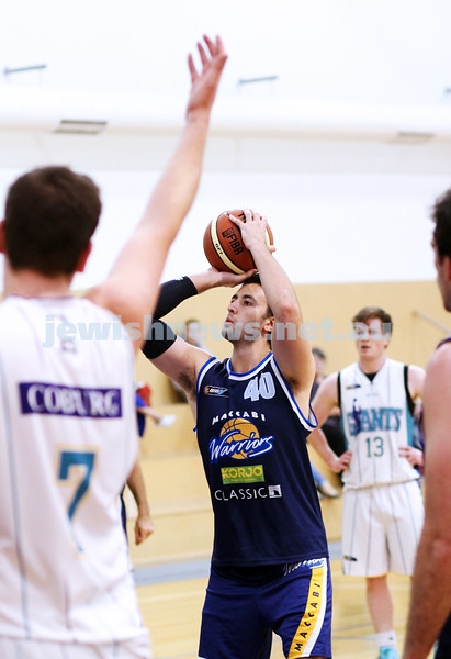 28-4-13. Basketball. Maccabi Warriors v Coburg at Bialik College.  Jonty Rzechta. Photo: Peter Haskin