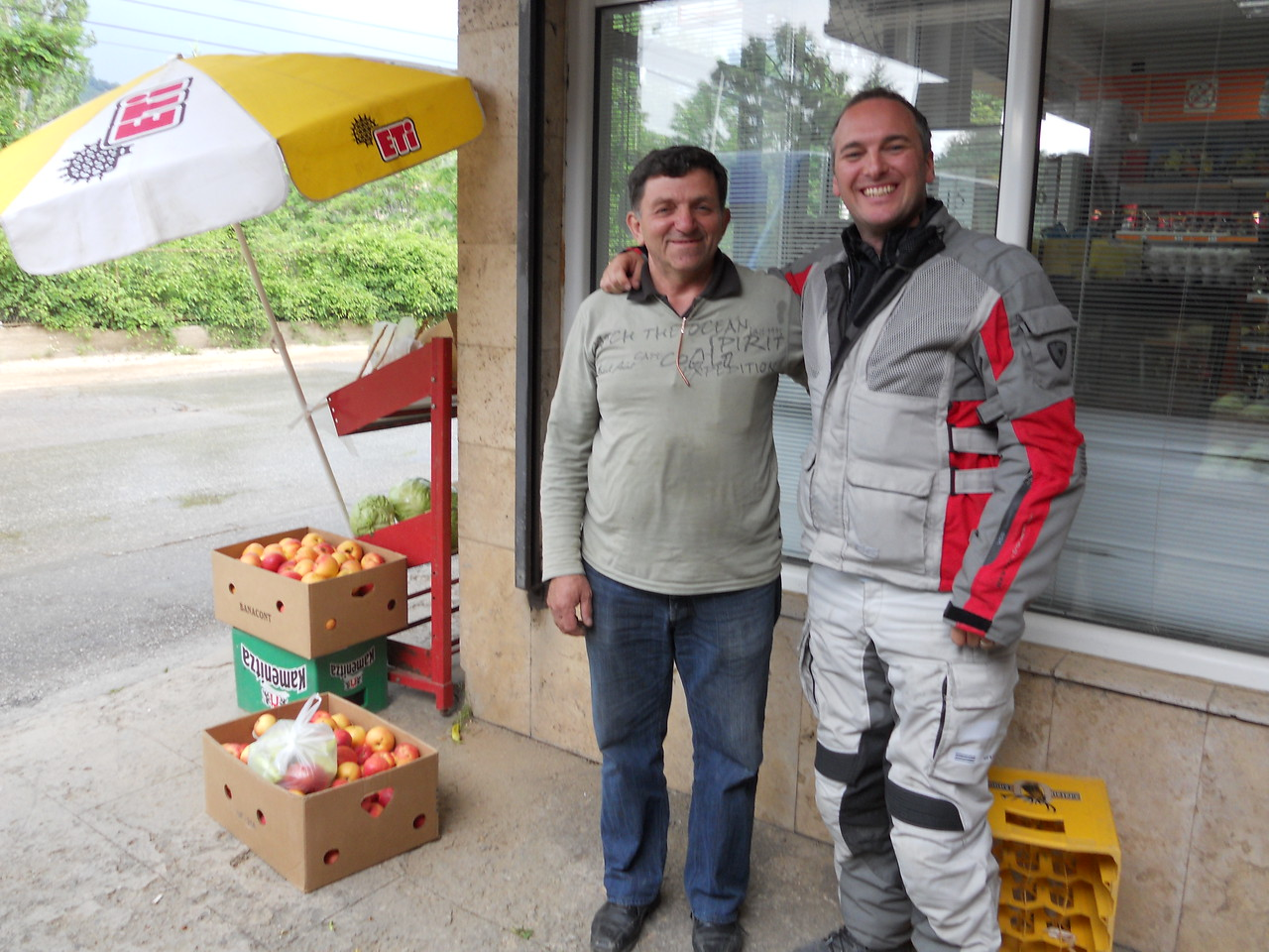 We reach Kriva Palanka but have no idea where the monastery (tonight's accomodation!) is. This friendly shop keeper invites us for a Turkish coffees, plies us with free vegetables and offers us a place to stay with his family in case the monestary is closed!