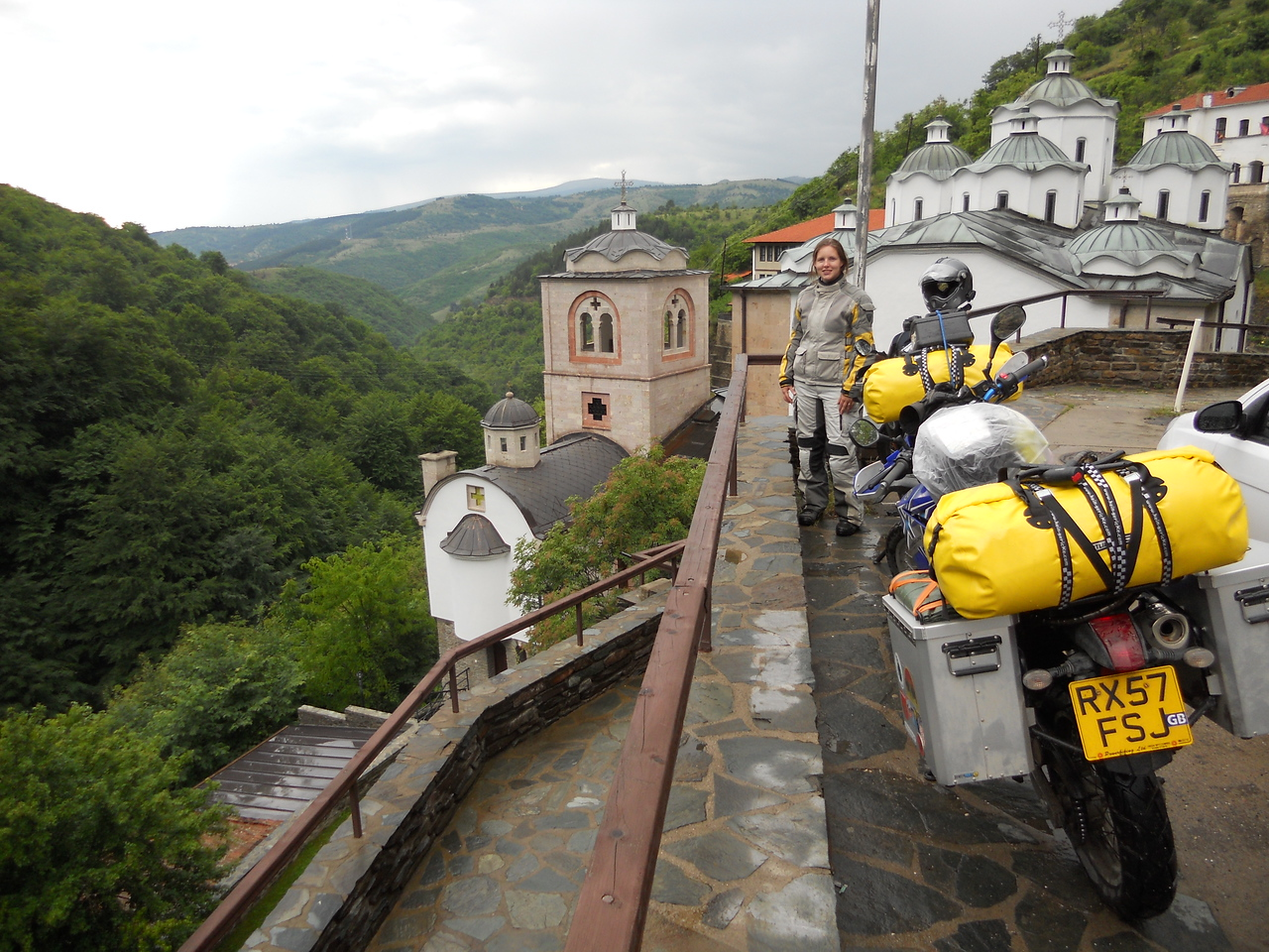 Just as it starts to rain with intent, we reach the Sveti Joakim Osogovski monestary which takes our breath away.