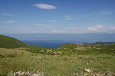 After crossing the border we get our first look at Lake Ohrid.