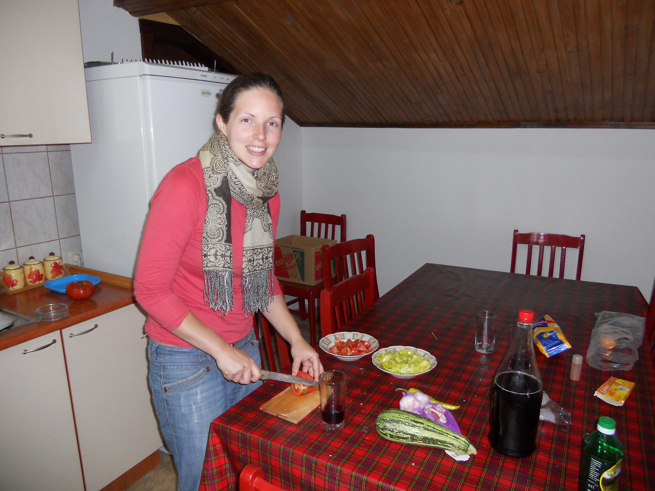 We make use of the free kitchen facilities to cook up a vegetable pilaf.