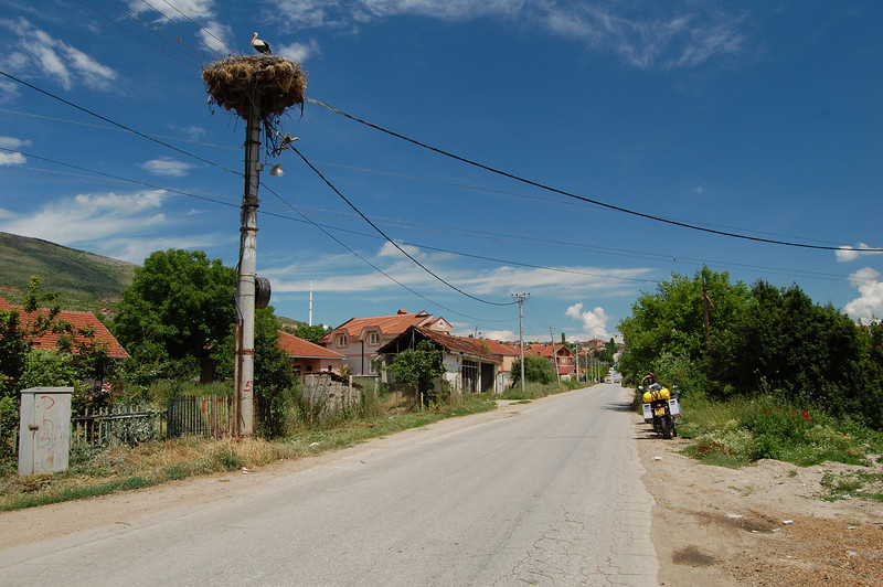 On the way from Skopje to Kriva Palanka in eastern Macedonia, our destination for that evening, we pass the mother of all birds nests on top of a telephone pole!!