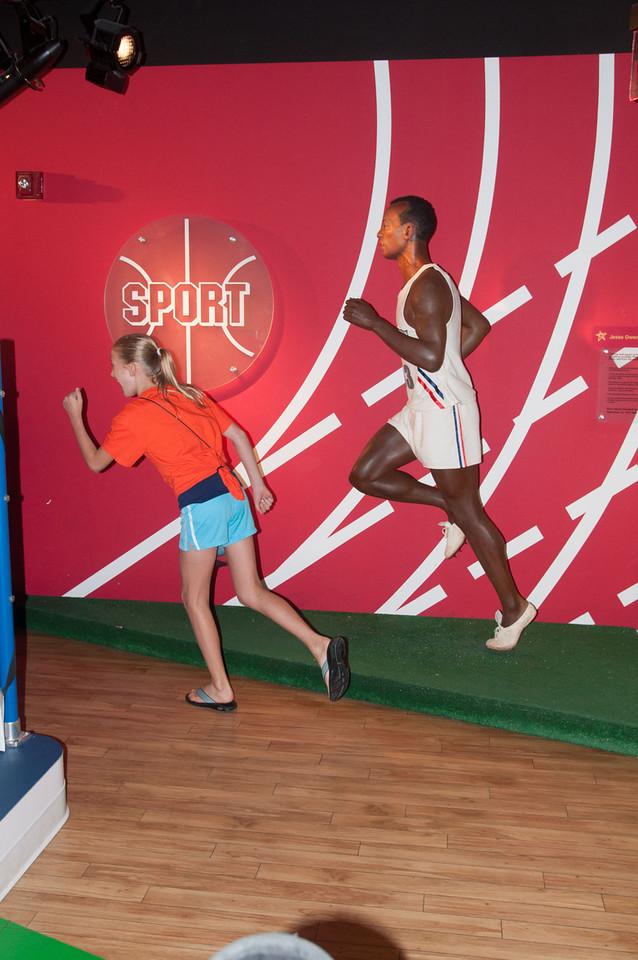 Rachel running with Jesse Owens.