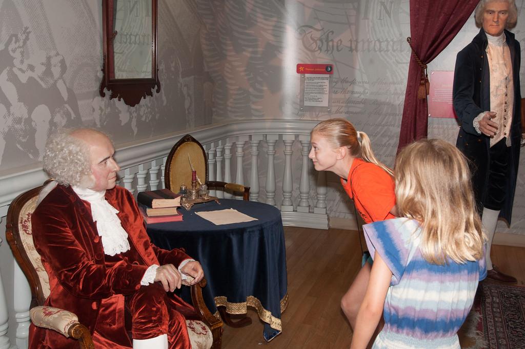 Rachel having a staring contest with John Adams.