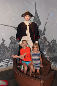 Elisabeth and Rachel crossing the Delaware River with George Washington.