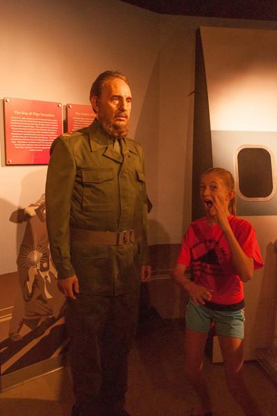 Rachel mocking Fidel Castro.