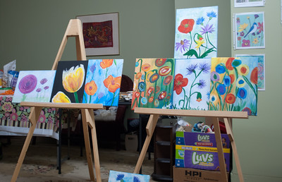 Made with Loving Hands in Downtown Clare offers both monthly painting parties for the public as well as private events like this one organized by Bonnie Sweet.