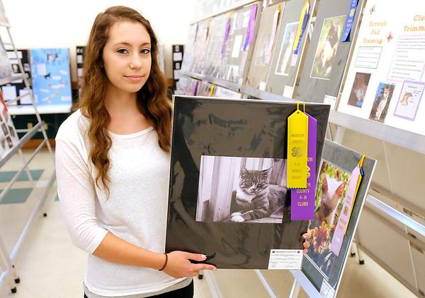 Tressia Phipps holds her winning cat portrait during the 4-H Fair on Thursday.