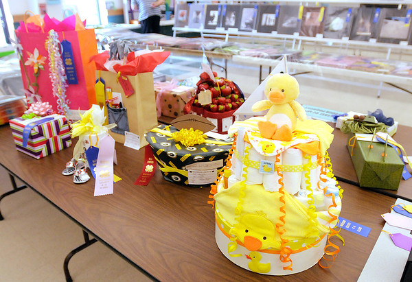 Gift wrapping projects on display in the Exhibit Hall during the 4-H Fair on Thursday.