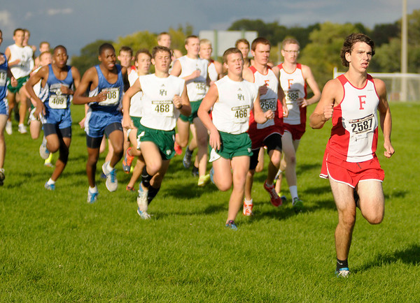 Frankton's Parker Williams leads the pack as the start of the Madison County Cross Country meet at Pendleton Heights on Tuesday.