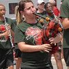 Anderson Marching Highlander plays the bagpipes.