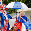 Hilda Anderson, age 102, rides a float at the Chesterfield Fourth of July Parade.