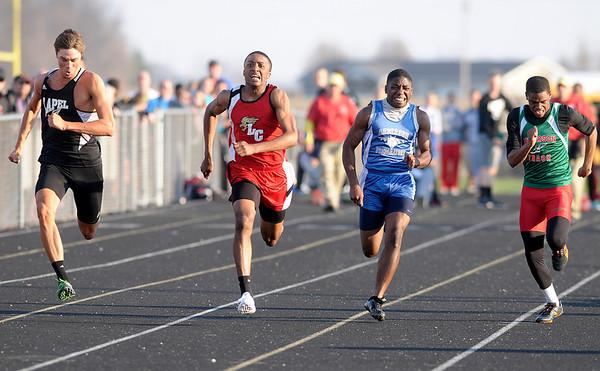 Don Knight | The Herald Bulletin<br /> Boys 100 meter dash.