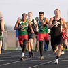 Don Knight | The Herald Bulletin<br /> Running the final leg of the boys 4 by 100 meter relay from left are, Pendleton Heights' Zach Taylor, Anderson's Zach Owens and Lapel's Joe Hart.