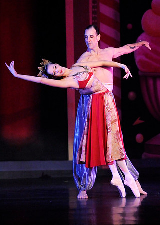 Don Knight |  The Herald Bulletin<br /> Joe Modlin and Maitland Contos McCord perform the coffee dance in the Anderson Young Ballet Theatre's production of the Nutcracker on Wednesday.