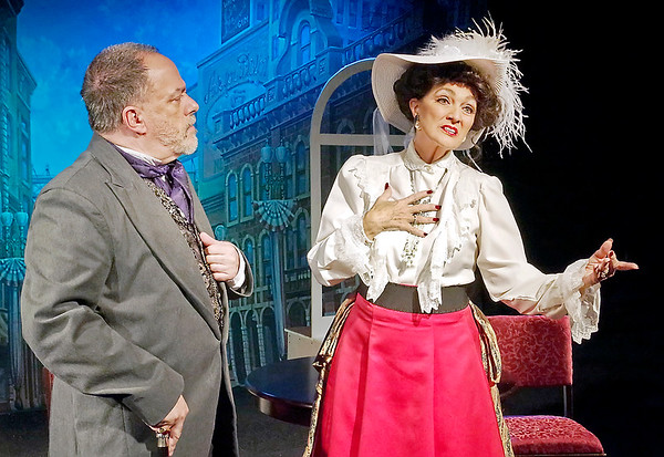 "Mark Maynard | for The Herald Bulletin<br /> Rick Vale and Jill O'Malia deliver strong performances as Horace Vandergelder and Dolly Gallagher Levi in the Alley Theatre's production of Thornton Wilder's comedy ""The Matchmaker."""