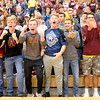 Don Knight | The Herald Bulletin<br /> Alexandria's student section cheers as the Tigers are introduced before the Volleyball semistate at Plymouth High School on Saturday. Read about the game in today's Sports section.
