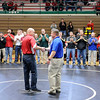 Don Knight |  The Herald Bulletin<br /> Former Anderson wrestling coach Cary House is recognized for his contribution to the sport during the Madison County Wrestling Tournament at Anderson High School.