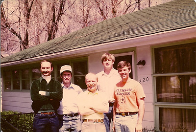 First Happy Daze get together after graduation at Larry Henderson's home in Bedford, IN. LtoR: Glawe, White, Henderson, Dueker, Maertens.  1980