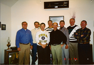 Rally at Maertens' home in Cornwall, NY after Army/Air Force game in 1996.  LtoR: Mahan, Boytim, Maertens, Dinsmore, Glawe, Shiely, McHone, and Jones.