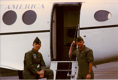 Maertens and Coulman at Heidelberg AAF, West Germany prior to C-12 flight.  1986