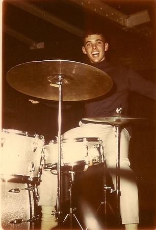 Happy Daze drummer at Woops.  1967