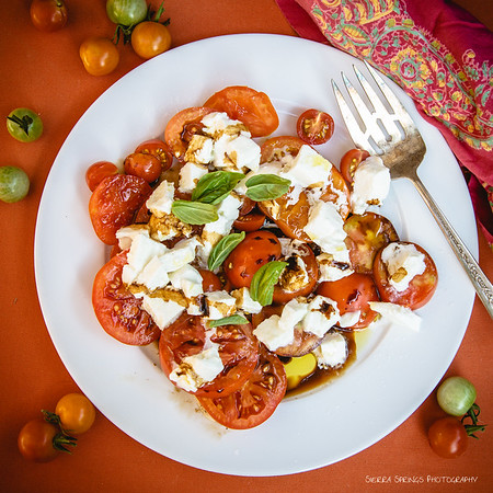 Fresh Garden Tomatoes with Burrata and Basil