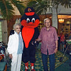 Kathy & Kelly with the Oriole Bird,  Official Team Mascot & Goodwill Ambassador.  HEIGHT: Somewhere between tweety bird and big bird. WEIGHT: One Quarter ton of feathers.  BATS: With both Wings!  HOBBIES: Greeting fans at the ballpark, sliding on dugouts and acting like a birdbrain. FAVORITE FOOD: Mostly bird seed, with the occasional crab cake.
