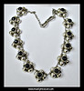 "#1561- J13f9299913h - Vintage, early Mexican, sterling silver and onyx necklace marked AE in the heart. It is 19.5"" long and about 1"" wide. The weight is 79 grams - very heavy and makes a stunning statement. Condition is excellent. SOLD"