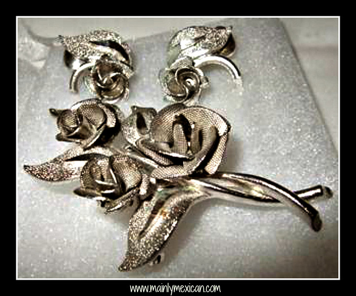 """#89-J8399 - Vintage CORO Silver Bouquet Roses Earrings Brooch Set signed CORO on the brooch, but not the earrings - The silver metal designed roses look real, the silver has a smooth and textured design. .   Spring back clip earrings are comfortable and measure 3/4"""" (21mm).  The Brooch measures 2 1/4"""" x 1 5/8"""" (58mm x 41mm)"""
