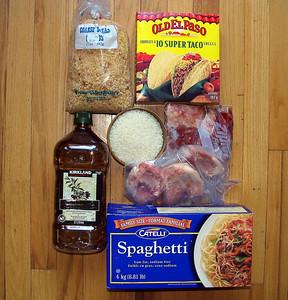 No pasta, rice, bread, meat, fish, oil.