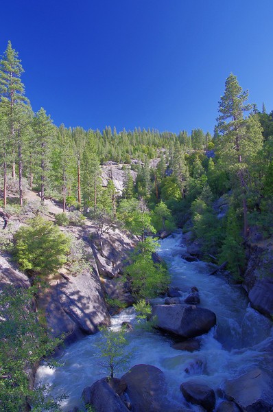 The East fork of the Chiquito Creek from the Bridge on the Minarets Road--HDR Photo without a Tripod.