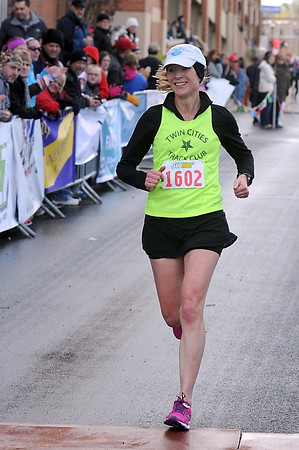 Pat Christman<br /> Amy Halseth was the top women's finisher in the Sunday's Mankato Marathon with a time of 2:58:18.