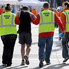 John Cross<br /> A Mankato Marathon finisher is assisted by medical personnel.