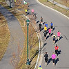 John Cross<br /> Runners participating Sunday in the Mankato Marathon wind their way along Sibley Parkway toward Sibley Park.