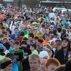 Runners in Saturday's half and full marathon queue up in the start gate at Minnesota State University Sunday.