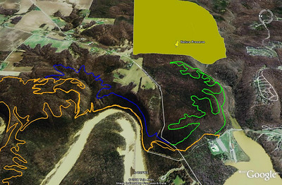 Versailles - All Orange = existing trails Green = ~3.5 mile phase 1 Blue = ~ 2 mile phase 2