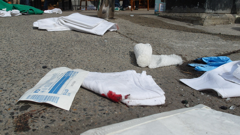 April 15, 2013 - A bloody bandage lies at the corner of Exeter and Newbury Streets, where some of those injured in the explosions were given first aid. Photo by Sarah Ganzhorn / BU News Service