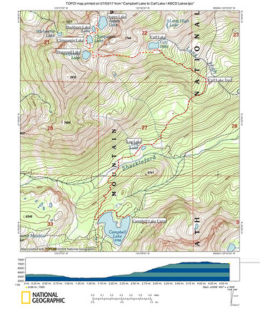 Campbell Lake to Calf Lake / ABCD Lakes Basin (another challenging day hike, with a cross-country option to a beautiful, secluded four-lake basin)