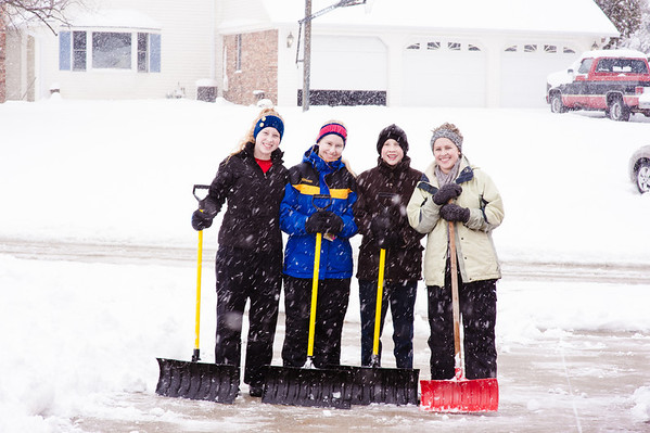 Some of my kids shoveling snow.  Briana Ayers, Cassandra Ayers, Dawson Ayers, and Nannette Ayers<br /> <br /> Photographer's Name: Terry Lynn Ayers<br /> Photographer's City and State: Anderson , IN