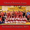 Took this group picture after Saturday's sectional championship game against Southern Wells. Liberty Christian boys basketball and LCS cheerleaders.<br /> <br /> Photographer's Name: Terry Lynn  Ayers<br /> Photographer's City and State: Anderson, Ind.