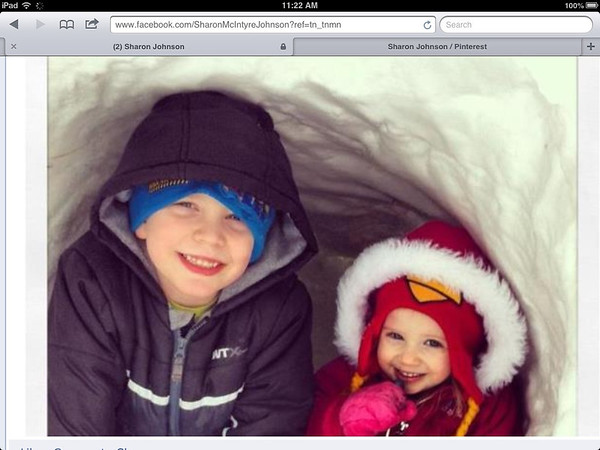 Jack and Allie Johnson in their igloo Dad made for the Easter bunny.<br /> <br /> Photographer's Name: Sharon Johnson<br /> Photographer's City and State: Pendleton, Ind.