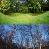 Circle Mound, Mounds State Park.  Constructed in approximately 1 CE, the entrance of Circle Mound is in alignment with the rising sun on both the fall and spring equinoxes.  These photographs were taken facing the entrance of the mound on the 2012 fall equinox (top) and 2013 spring equinox (bottom) as the sunrise illuminates Circle Mound.<br /> <br /> Photographer's Name: Eliot  Reed<br /> Photographer's City and State: Anderson, IN
