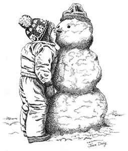 Jessie Kennedy drew a picture of her snowman for her Daddy.<br /> <br /> Photographer's Name: Beth Walker<br /> Photographer's City and State: Anderson, Ind.