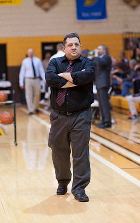 Liberty Christian's Coach Jason Chappell during a tense moment in the sectional last night with Liberty vs Monroe Central<br /> <br /> Photographer's Name: Terry Lynn Ayers<br /> Photographer's City and State: Anderson, IN