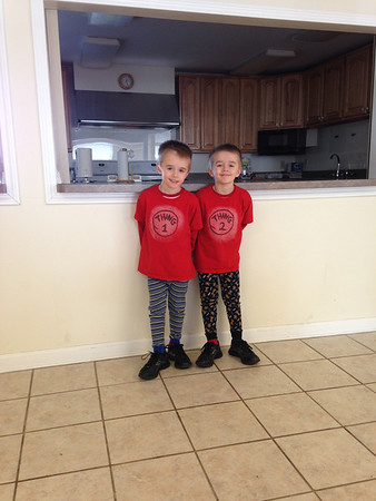 Twins Parker and Alexander Roosa celebrating Dr. Seuss' birthday as Thing 1 and Thing 2.<br /> <br /> Photographer's Name: Braun Roosa<br /> Photographer's City and State: Centerville, Ind.
