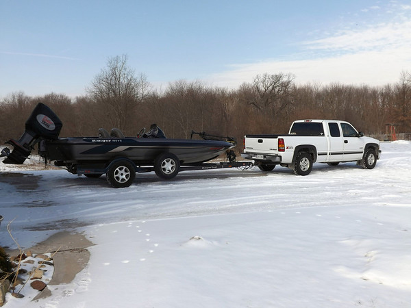 """""""Never too cold to fish:"""" First time out this year. Photo taken at  my place in Richland Township.<br /> <br /> Photographer's Name: J.R. Rosencrans<br /> Photographer's City and State: Alexandria, Ind."""